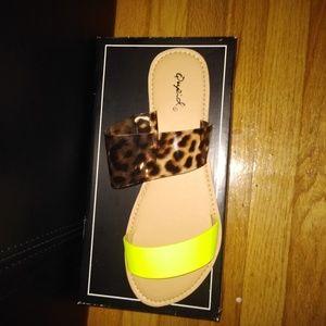 Qupid Shoes - Asymmetric Double Band Slide Sandal